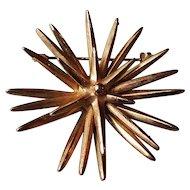 Sea star vintage brooch golden hedgehog jewelry