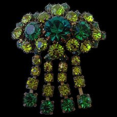 Glittering crystal vintage brooch elegant green and champagne color European estate jewelry.