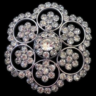 Snow flake vintage crystal brooch elegant jewelry