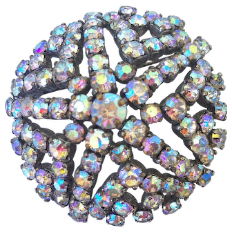 Sparkling AB rhinestones vintage star brooch costume jewelry