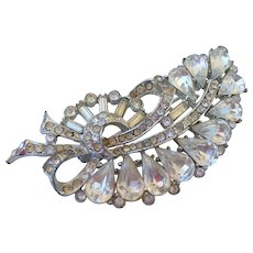 Elegant crystal vintage brooch silver and champagne color rhinestones flea market