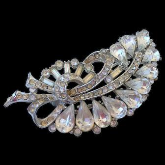 Elegant crystal vintage brooch silver and champagne color rhinestones flea market