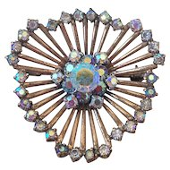 Spider web design copper vintage brooch AB crystal rhinestones