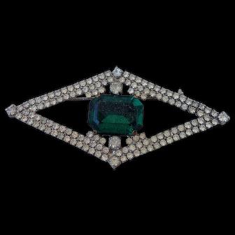 Vintage eye design crystal brooch old green cabochon stone