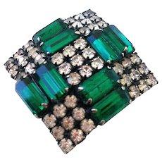 Vintage crystal  forest green rhinestones cross brooch flea market jewelry