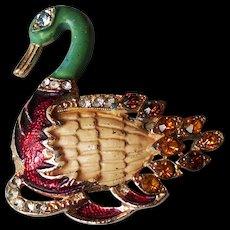 Golden tone enamel duck vintage pin brooch rich crystal costume jewelry.