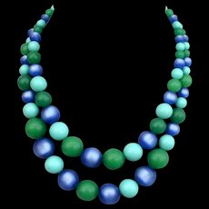 Two strands blue turquoise and green color beads vintage necklace