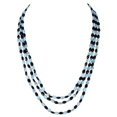 Turquoise black three strand glass beads  necklace West Germany vintage jewelry