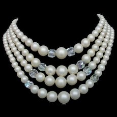 Vintage 4 strands faux pearls and crystals necklace elegant costume jewelry