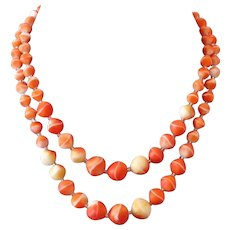 Venetian two strands smoky orange vintage glass bead necklace
