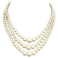 Three strand ivory matt plastic pearls vintage necklace romantic jewelry.