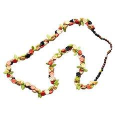 Vintage floral necklace delicate pastel colors flower beads