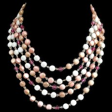 Five strand metal chain vintage flat beads and crystals necklace