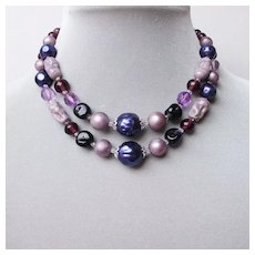 Vintage necklace, Murano lampwork beads, crystal beads, faux pearl custom jewelry.