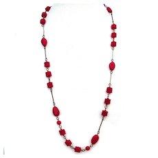 Cherry red glass beads brass bead links vintage jewelry