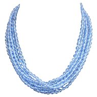 Long knotted necklace bracelet vintage Bohemian blue crystal beads