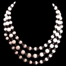 Three strand white plastic beads metal lace vintage chain necklace