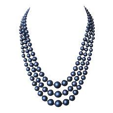 Indigo blue glass pearls 3 strands vintage necklace