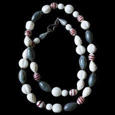 Venetian lampwork sea gray white vintage long necklace.