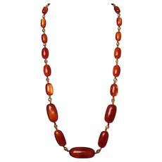 Amber style Lucite crystal beads long vintage necklace