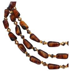 Ocher brown orange European vintage glass crystal bead necklace