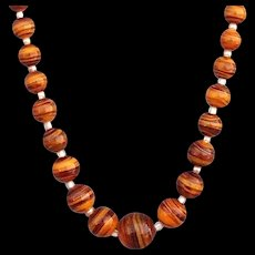 Vintage necklace marble style lampwork art glass beads