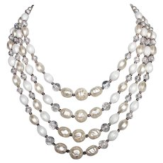 Four strands white pearl color glass plastic beads vintage elegant necklace