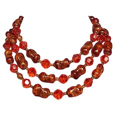 Auburn vintage Murano glass Venetian crystal beads  long necklace.