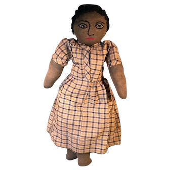 Early Black Stockinette Cloth Doll