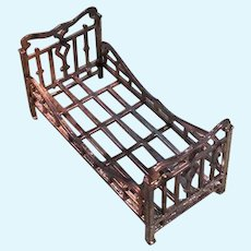 Miniature Metal Doll Bed marked FRANCE