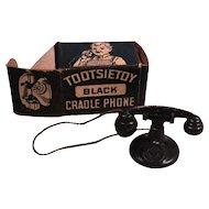Tootsietoy Black Cradle Telephone