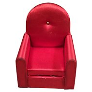 IDEAL Red Satin Doll House Chair