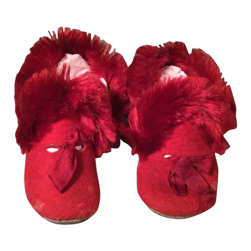 Red Wool, Mohair, & Leather Doll Shoes