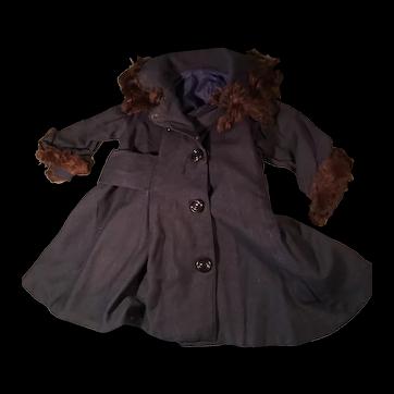 Navy Wool Coat & Bonnet