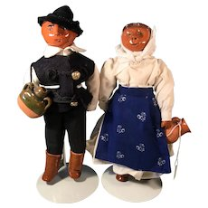 Ethnic Doll Pair Glazed Pottery