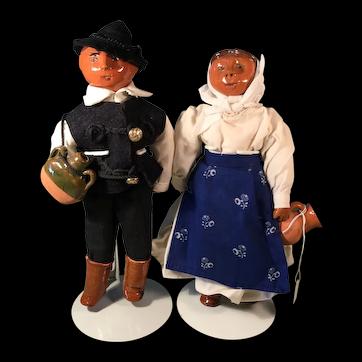 Ethnic Doll Pair Glazed Pottery