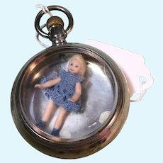 "Mini 1 1/2"" Artist Doll in Vintage Watch Case"