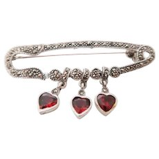 Vintage Sterling Silver Three Heart Garnets With Sparkling Marcasites Safety Pin Brooch