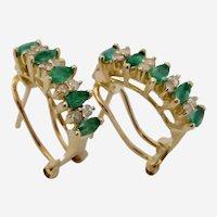 Stunning 14K YG Emerald Diamond Omega Back Pierced Post Earrings