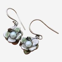 Vintage Sterling Silver Floral Cultured Button Pearl Dangle Earring