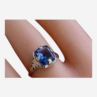 Elegant Art Deco 14K White Gold 2.60 Ct. Natural Sapphire Ring