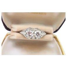 Art Deco 18K White Gold Ring With .95-TCW  VVS-2 Diamonds
