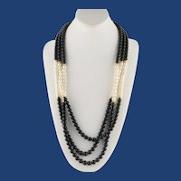 Vintage 29 Inch Triple Strand Black/Gold Beads and White Faux Pearls