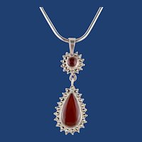 Vintage Sterling Silver Art Deco Style Pendant With Cornelian And Marcasites on Sterling Silver Chain