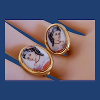 Vintage Clip On Oval Earrings With Lovely Hand Painted Portrait of A Senorita