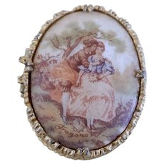Vintage French Oval Fragonard Pill Box With Romantic Couple