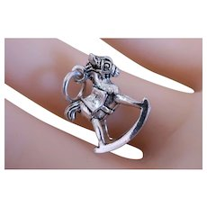 Charming Vintage Sterling Silver 3D Rocking Horse Charm