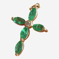 Vintage 14K Y.G. Beautiful Emerald Diamond Cross Pendant
