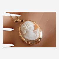 Lovely Vintage Two-Picture Gold-Filled Cameo Locket With Gold-Filled Chain
