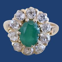 Victorian 18K  1.40ct Oval Emerald 1.10ct Old Mine Cut Diamond Cluster Ring